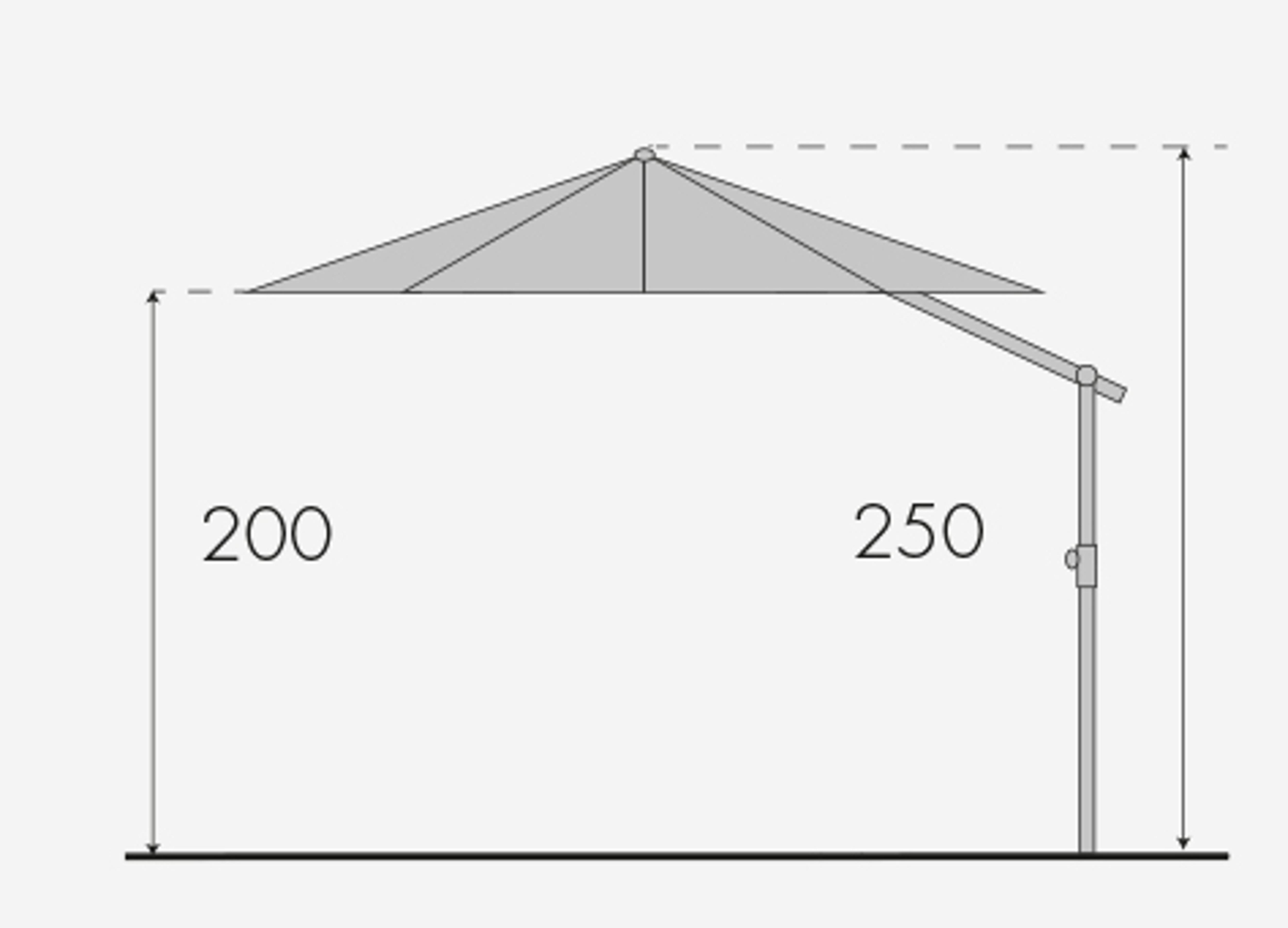 EXPERT 350P – zahradní výkyvný slunečník s boční tyčí, T820