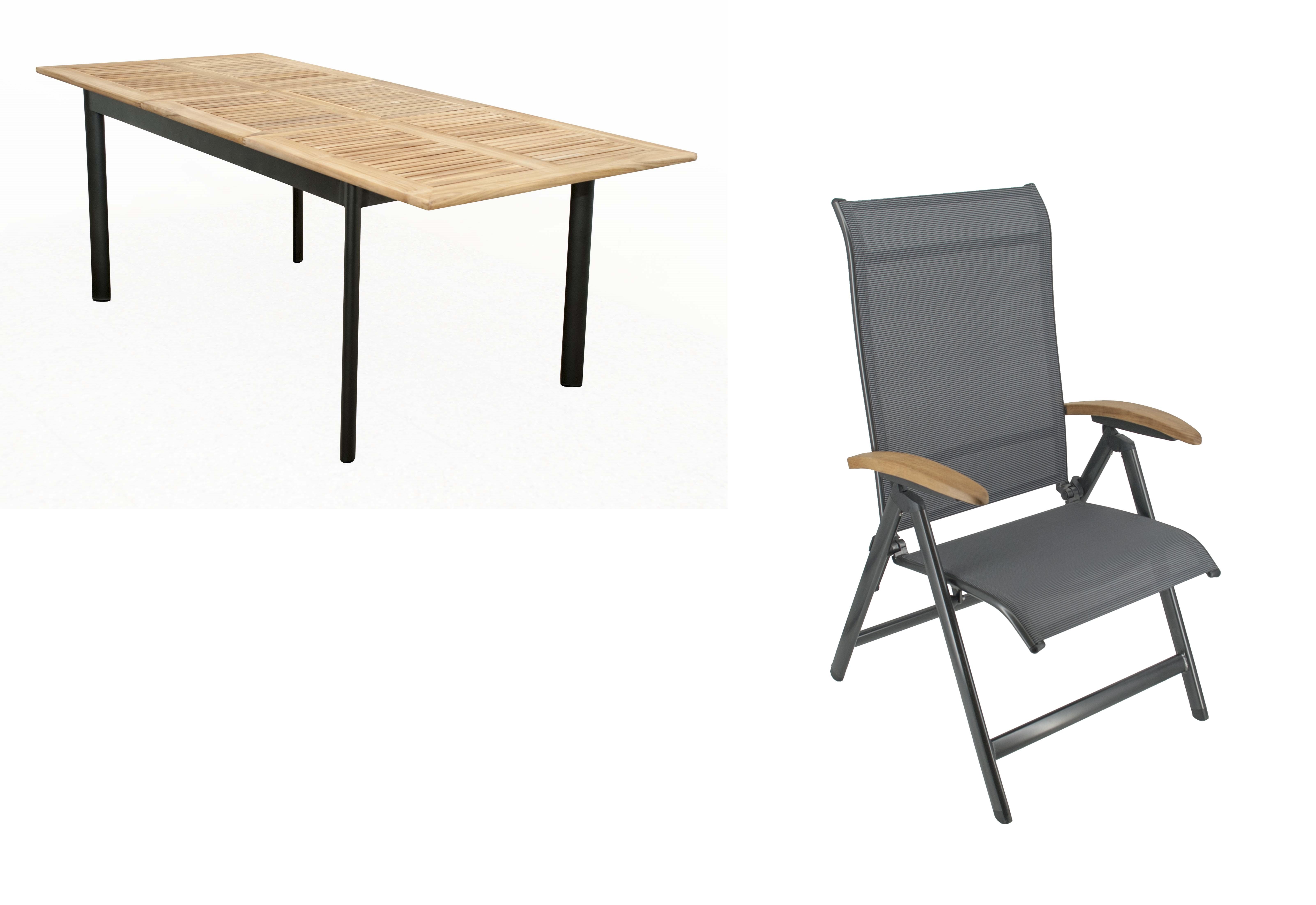 CONCEPT YELMO 6 plus 1 - zahradní sedací souprava (hliník/teakové dřevo)