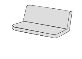 SPOT 129 - polstr na houpačku 150 cm, Sedák a opěrka vcelku