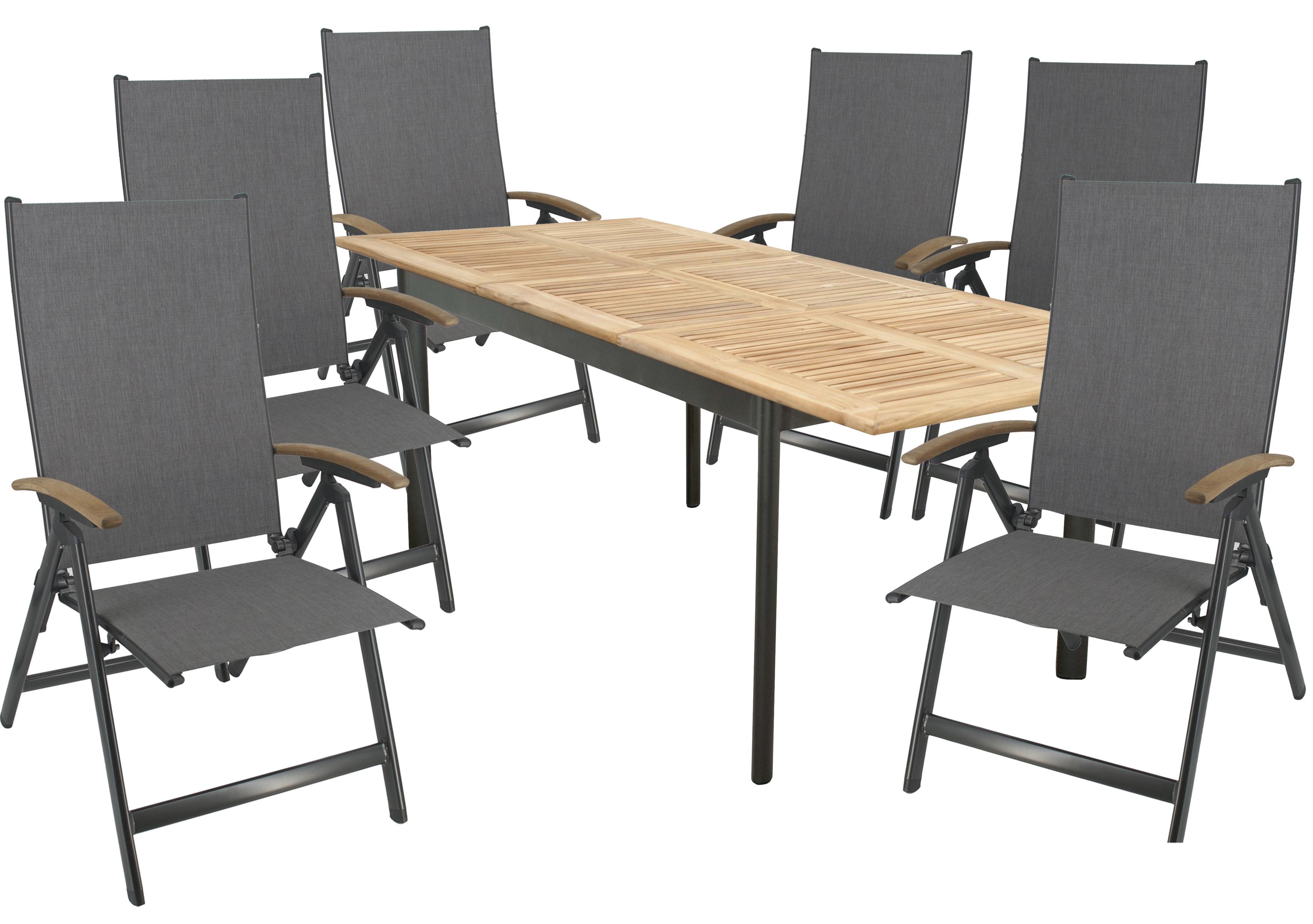 CONCEPT KENDO 6 plus 1 - zahradní sedací souprava (hliník/teakové dřevo)
