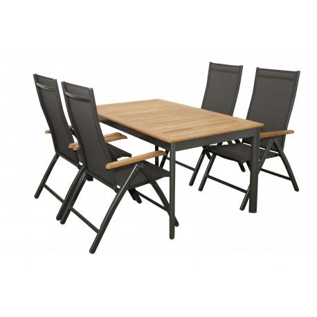 CONCEPT TEAK 4+1 - zahradní sedací souprava (hliník/teakové dřevo)