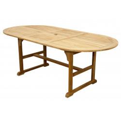 TEAKOVÝ STŮL - stůl oválný rozkládací 150/200x100x74m