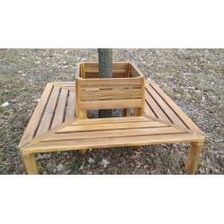 Dřevěná lavice z akácie kolem slunečníku / stromu 147x147 cm
