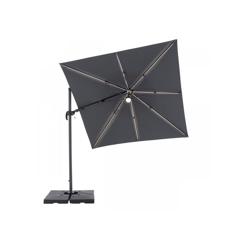 RAVENNA Axial 250x250 cm – zahradní výkyvný slunečník s boční tyčí s LED