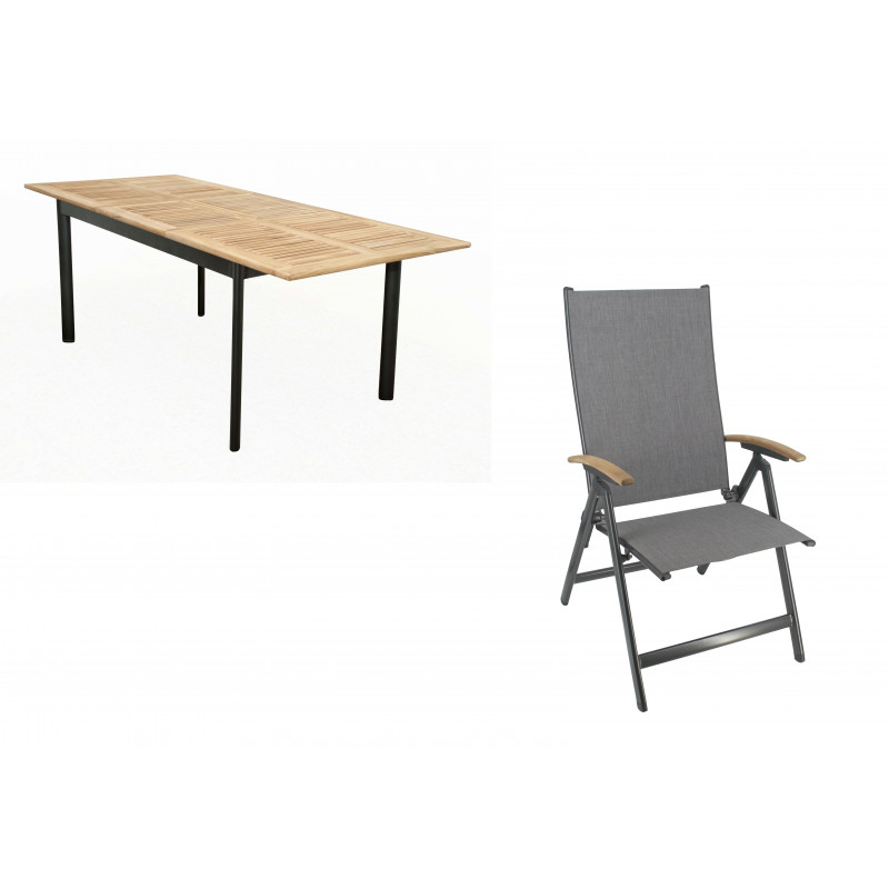 CONCEPT KENDO 4+1 - zahradní sedací souprava (hliník/teakové dřevo)