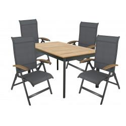 CONCEPT YELMO 4+1 - zahradní sedací souprava (hliník/teakové dřevo)