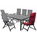 SALERNO ACTIVE šedá - hliníková sedací souprava 6+1/stůl 210x100