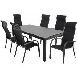 SALERNO MIAMI antracit - hliníková sedací souprava 6+1/stůl 150x90